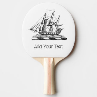 Heraldic Vintage Nautical Clipper Ship Crest Ping Pong Paddle