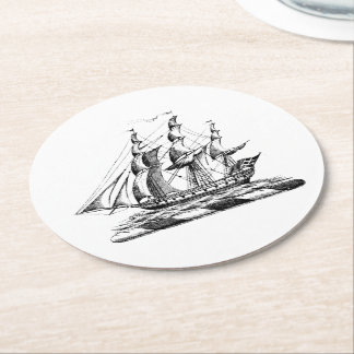 Heraldic Vintage Nautical Clipper Ship Crest Round Paper Coaster
