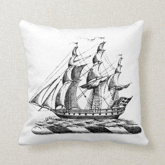 Heraldic Vintage Nautical Clipper Ship Crest Throw Pillow
