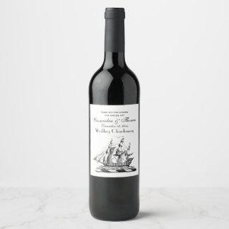 Heraldic Vintage Nautical Clipper Ship Crest Wine Label