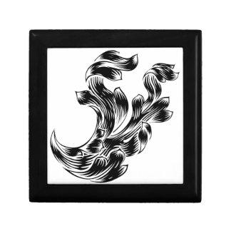 Heraldry Scroll Floral Filigree Design Gift Box