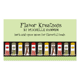 Herb and spice bottles cooking culinary biz cards business card templates