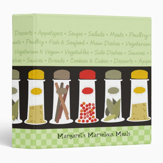 Herb and spice bottles recipe cookbook binder