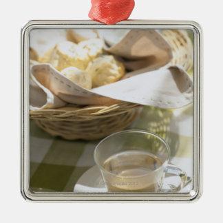 Herb Tea and Corn Silver-Colored Square Ornament