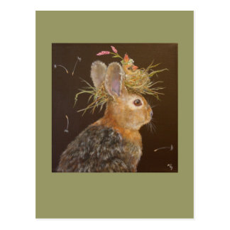 Herb the Bun and Jula the cardinal baby postcard