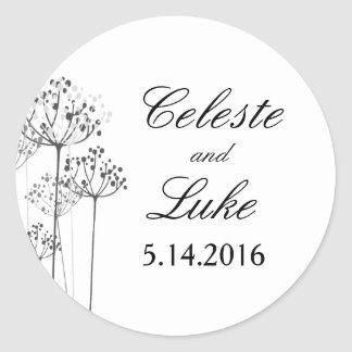 Herbal Rhapsody Wedding Classic Round Sticker