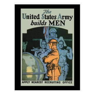Herbert Andrew Paus The US Army builds MEN Postcard