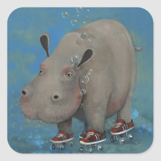 Herbert the Hippo Square Sticker