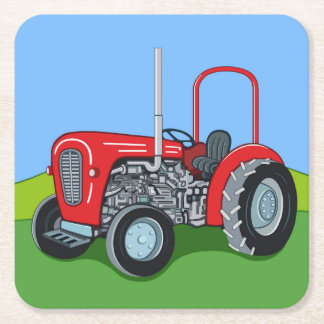 Herbert the Tractor Square Paper Coaster