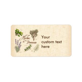 Herbes De Provence, recette, lavande, thym, Étiquettes D'adresse