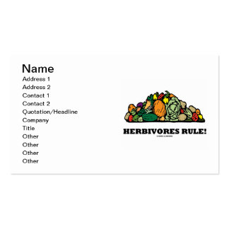 Herbivores Rule! (Pile Of Vegetables) Business Card Template
