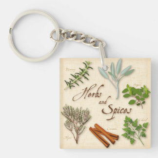 Herbs and Spices, Rosemary, Sage, Thyme, Cinnamon Double-Sided Square Acrylic Keychain