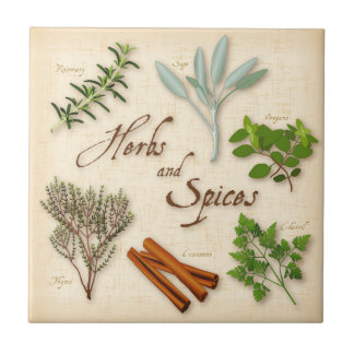 Herbs and Spices, Rosemary, Sage, Thyme, Cinnamon Tile