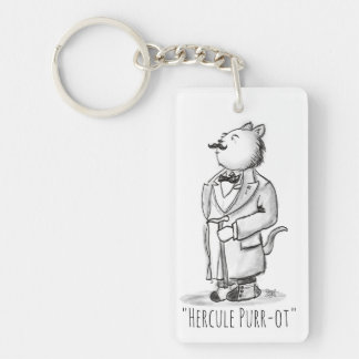 Hercule Purr-ot, Belgian Cat Detective Keychain