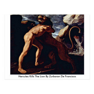 Hercules Kills The Lion By Zurbaran De Francisco Postcard