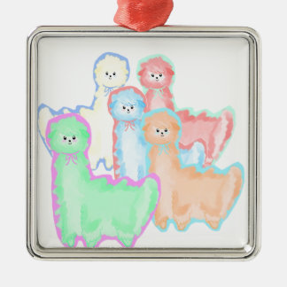 Herd of Alpacas Silver-Colored Square Ornament