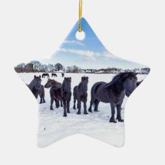 Herd of black frisian horses in winter snow ceramic star ornament