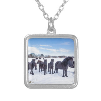 Herd of black frisian horses in winter snow silver plated necklace