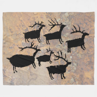Herd of Elk Petroglyph Fleece Blanket