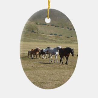 Herd of Horses Ceramic Oval Ornament