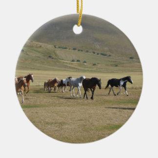 Herd of Horses Round Ceramic Ornament