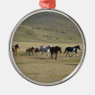 Herd of Horses Silver-Colored Round Ornament