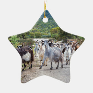 Herd of mountain goats walking on road ceramic star ornament