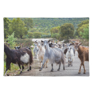 Herd of mountain goats walking on road place mat