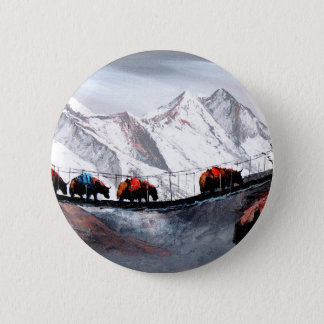 Herd Of Mountain Yaks Himalaya 2 Inch Round Button