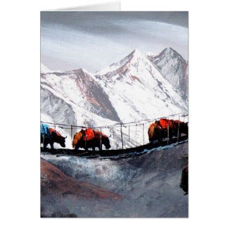 Herd Of Mountain Yaks Himalaya Card