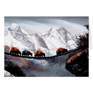 Herd Of Mountain Yaks Himalaya Card