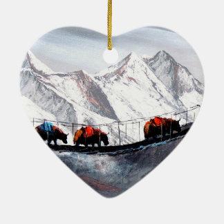 Herd Of Mountain Yaks Himalaya Ceramic Heart Ornament