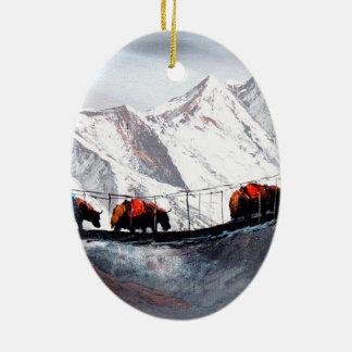 Herd Of Mountain Yaks Himalaya Ceramic Oval Ornament