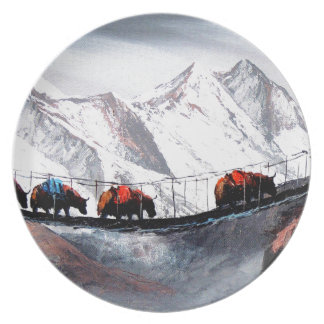 Herd Of Mountain Yaks Himalaya Plate
