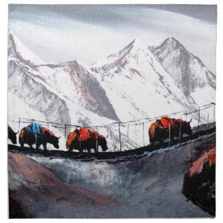 Herd Of Mountain Yaks Himalaya Printed Napkin