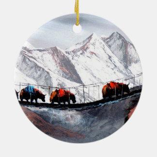 Herd Of Mountain Yaks Himalaya Round Ceramic Ornament