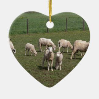 Herd of sheep ceramic heart ornament