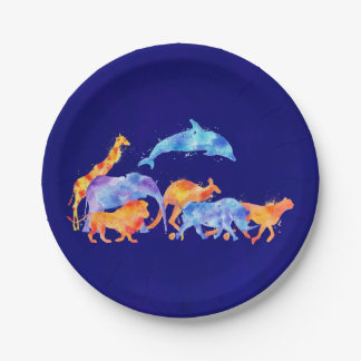 Herd of Wild Animals On Purplish Blue Background Paper Plate