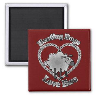 herding dogs love ewe square magnet