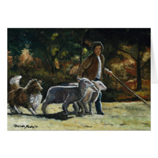 """""""Herding Helper"""" Sheltie Dog Art Note Card"""