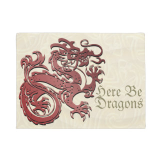 """Here Be Dragons"" Chinese Dragon Door Mat"