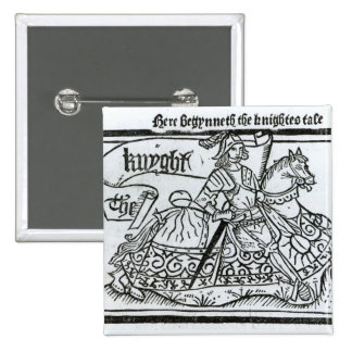 'Here Begynneth the Knightes Tale' 2 Inch Square Button