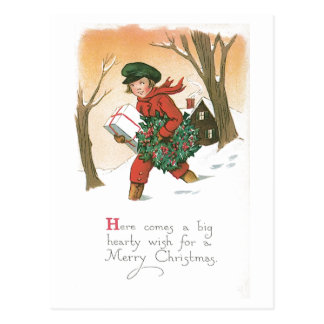 Here Comes a Hearty Wish Postcard