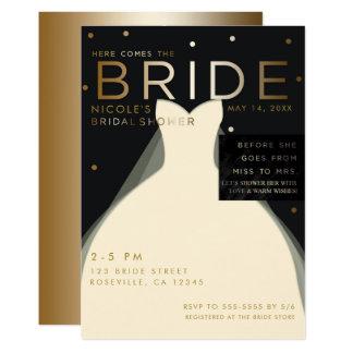 Here comes BRIDE Cream Black Gold Bridal Shower Card