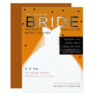Here comes BRIDE Halloween Orange Bridal Shower Card