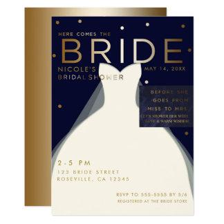 Here comes BRIDE Navy Blue & Gold Bridal Shower Card