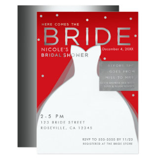 Here comes BRIDE Silver & Red Chic Bridal Shower Card
