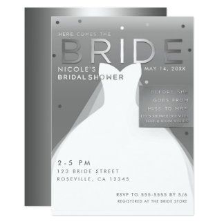 Here comes BRIDE Silver & White Chic Bridal Shower Card
