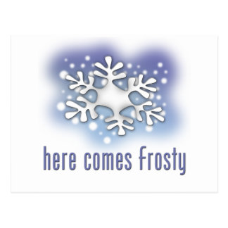 Here comes Frosty Postcard
