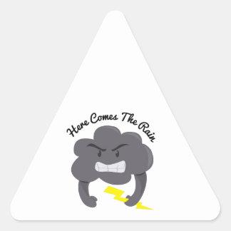 Here Comes Rain Triangle Sticker